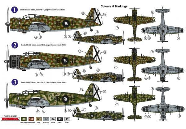 "1/72 AZ model 7617 Breda BA-65 A-80 ""Nibbio"" Over Spain"